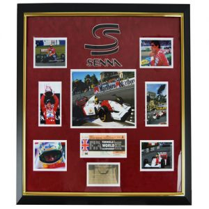 Ayrton Senna Framed Signed Ticket Display