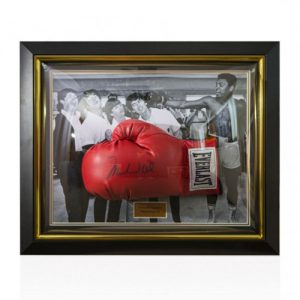 "Muhammad Ali Framed Signed Boxing Glove - ""Meeting The Beatles"""
