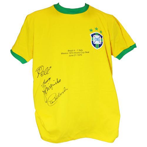 Brazil Shirt signed by Pele, Gerson, Jairzinho & Carlos Alberto