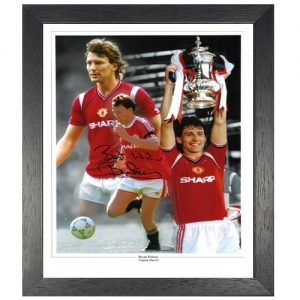 Bryan Robson Framed Signed Photo Montage