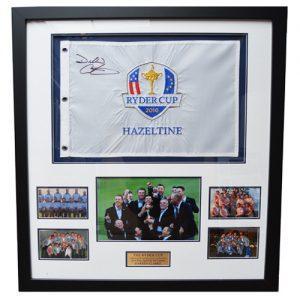 Darren Clarke Framed Signed Ryder Cup 2016 Flag