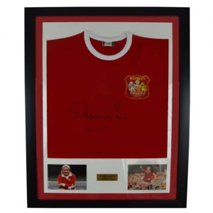Denis LAw Framed Signed Manchester United Shirt