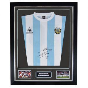 Diego Maradonna Framed Signed Argentina Shirt