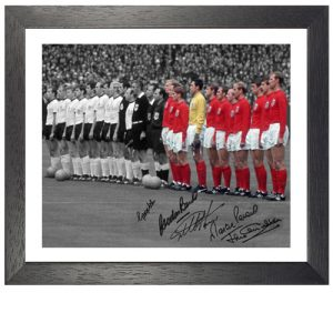 "England 1966 Framed Photo Signed by 5 – ""The Anthems"""