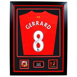 Steven Gerrard Framed Signed Liverpool FC Shirt