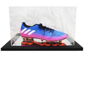 Lionel Messi signed football boot in an Acrylic Case
