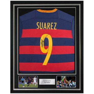 Luis Suarez Deluxe Framed Signed Barcelona Shirt
