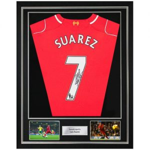 Luis Suarez Deluxe Framed Signed Liverpool FC Shirt