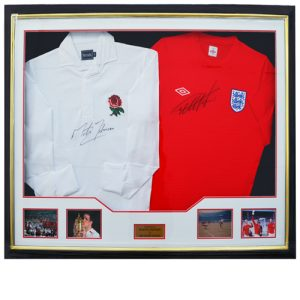 Geoff Hurst Martin Johnson Dual Framed Signed Shirts