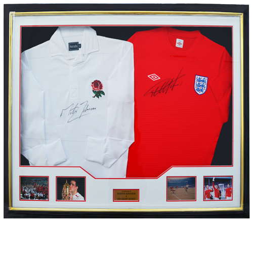 Geoff Hurst Martin Johnson Dual Framed Signed Shirts