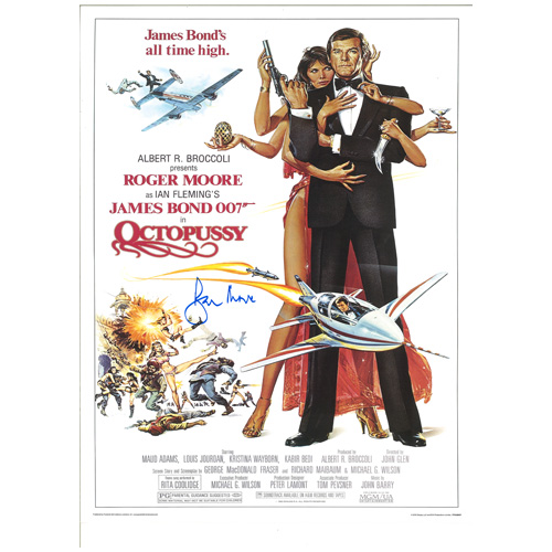 "Roger Moore Signed James Bond Poster – ""Octopussy"""