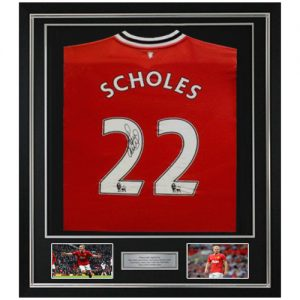 Paul Scholes Deluxe Framed Signed Manchester United Shirt (2011/2012)