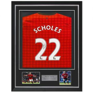 Paul Scholes Deluxe Framed Signed Manchester United Shirt