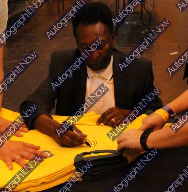 pele front signed brazil shirt