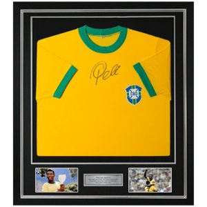 Pele framed front signed brazil shirt