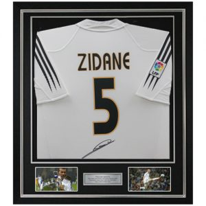 Zinedine Zidane Framed Signed Real Madrid Shirt