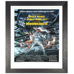 "Roger Moore Framed Signed James Bond Poster – ""Moonraker"""