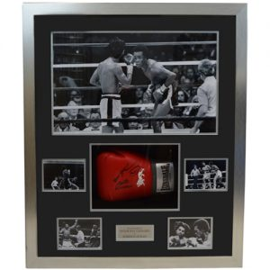 Sugar Ray Leonard and Roberto Duran Dual Signed Glove Display