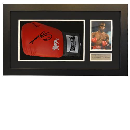Sugar Ray Leonard Framed Signed Glove