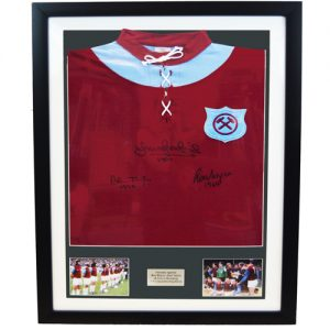 West Ham Framed Signed retro shirt by Boyce, Brooking and Taylor