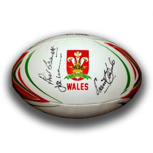 Wales Rugby Ball signed by J.P.R Williams, Gareth Edwards & Phil Bennett