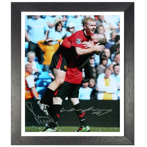 Paul Scholes Wayne Rooney Framed Signed Photo