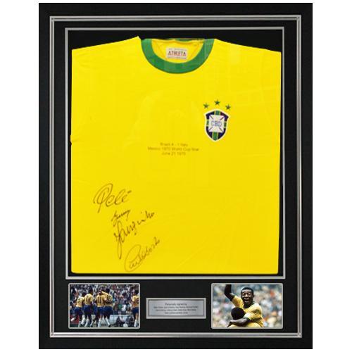 Brazil Framed Shirt signed by Pele, Gerson, Jairzinho & Carlos Alberto