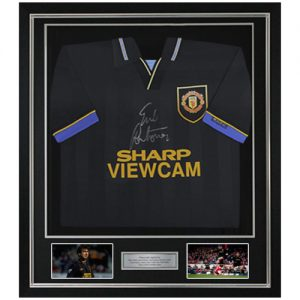 Eric Cantona Deluxe Framed Signed Manchester United 1994 Away Shirt