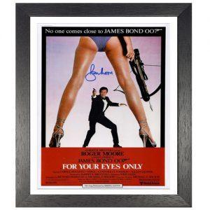 "Roger Moore Framed Signed James Bond Poster – ""For Your Eyes Only"""