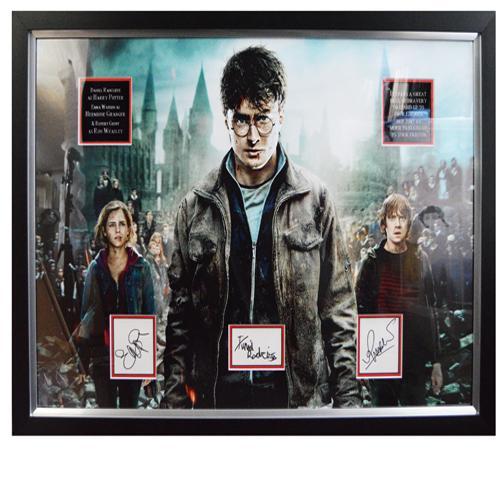 Harry Potter Framed Display signed by Daniel Radcliffe, Emma Watson & Rupert Grint