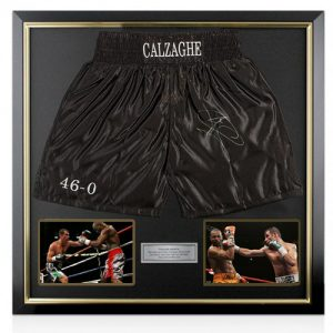 Joe Calzaghe Framed Signed Boxing Trunks