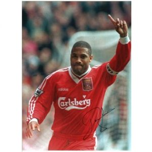 John Barnes Signed Photo - Celebration