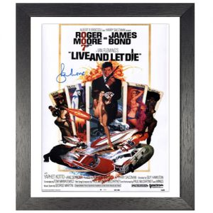 Roger Moore framed signed James Bond poster