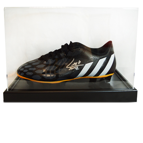 Luis Suarez signed football boot in an acrylic case