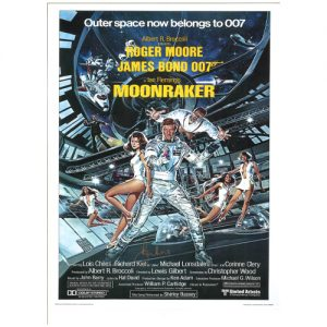 "Roger Moore Signed James Bond Poster – ""Moonraker"""