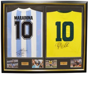 Pele and Maradonna Dual Framed Signed Shirts