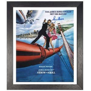 "Roger Moore Framed Signed James Bond Poster - ""A View to a Kill"""