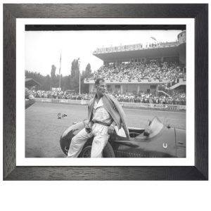 Stirling Moss Framed Signed Photo – 1954 Italian Grand Prix