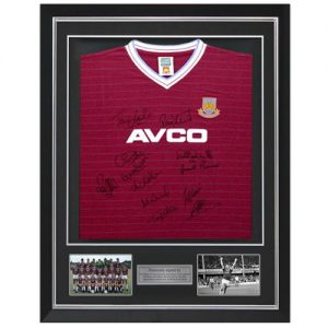 West Ham 1986 Deluxe Framed Shirt signed by 12