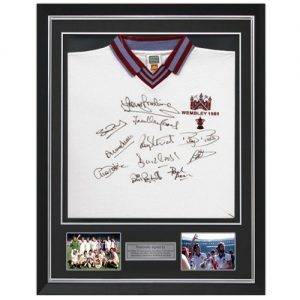 West Ham Deluxe Framed 1980 Shirt Signed by 12