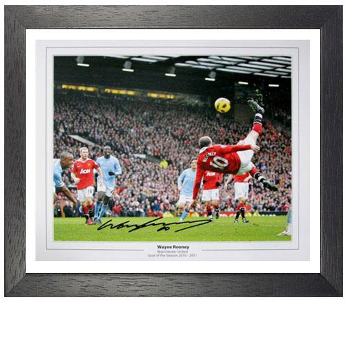 Wayne Rooney Framed Signed Photo - Overhead Kick